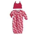 Kickee Pants Print Ruffle Converter Gown & Hat Set - Roses