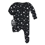 Kickee Pants Print Footie with Zipper - Silver Stars