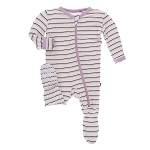 Kickee Pants Print Footie with Zipper - Girl Parisian Stripe