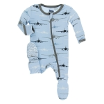 Kickee Pants Print Footie with Zipper - Pond Airplanes