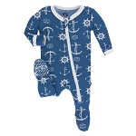 Kickee Pants Print Footie with Zipper - Twilight Anchor