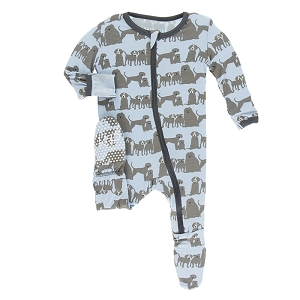 Kickee Pants Print Footie with Zipper - London Dogs