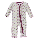 Kickee Pants Print Muffin Ruffle Coverall with Zipper - Natural Marigold