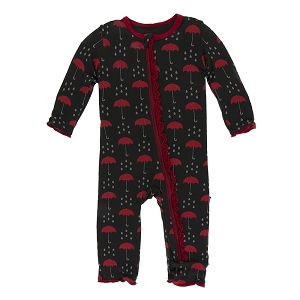 Kickee Pants Print Muffin Ruffle Coverall with Zipper - Umbrellas & Rain Clouds