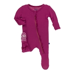 Kickee Pants Basic Muffin Ruffle Footie with Zipper - Berry