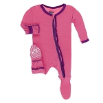 Kickee Pants Muffin Ruffle Contrast Footie with Zipper - Flamingo