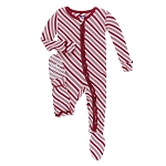 Kickee Pants Print Ruffle Footie with Zipper - Candy Cane Stripe