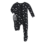 Kickee Pants Print Ruffle Footie with Zipper - Silver Stars