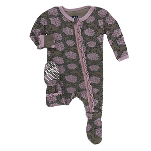 Kickee Pants Print Muffin Ruffle Footie with Zipper - African Violets