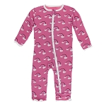 Kickee Pants Print Muffin Ruffle Coverall with Zipper - Flamingo Rainbow