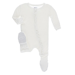 Kickee Pants Basic Muffin Ruffle Footie with Zipper - Natural