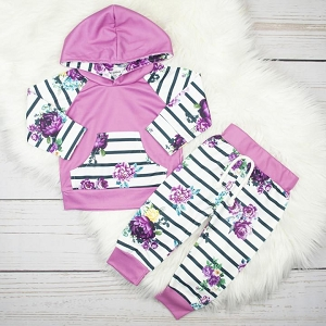 Hoodie Set - Purple Stripes