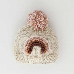 Rainbow Knit Beanie Hat - Mauve