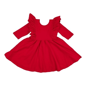 Ruffle Twirl Dress - Red
