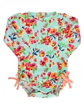 RuffleButts One Piece Rash Guard - Painted Flowers