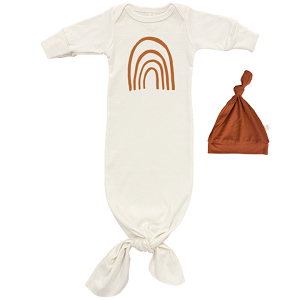 Rust Rainbow- Long Sleeve Infant Tie Gown & Hat