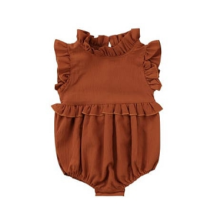 Ruffled Bubble Romper - Brown