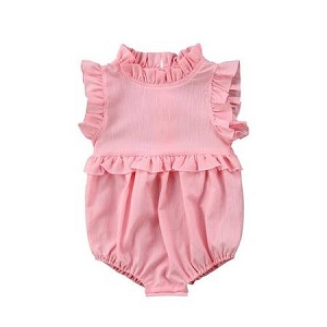 Ruffled Bubble Romper - Pink