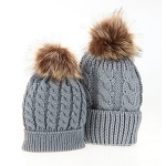 Mommy & Me Hat Set - Grey