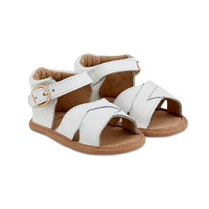 White Split-Soled Leather Baby Sandal
