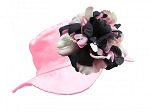 Pale Pink Sun Hat with Pink & Black Peony