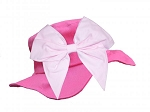 Raspberry Sun Hat with Pale Pink Bow