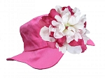 Raspberry Sun Hat with Raspberry & White Peony