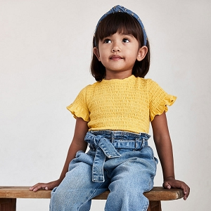 Mayoral Mustard Smocked Stitching Shirt
