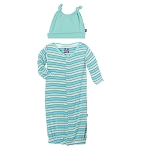 Kickee Pants Gown & Knot Hat Set - Tropical Stripe