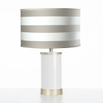 Oilo Taupe Stripe Table Lamp with Gold Finish