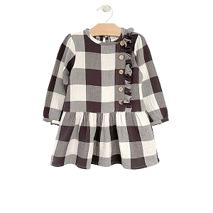 Buffalo Check Drop Waist Button Dress