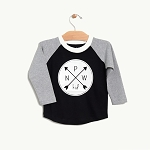 PNW Kid Logo Raglan - Black & Grey