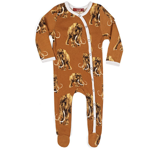 Bamboo Footed Romper - Woolly Mammoth