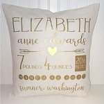 Personalized Baby Pillow w/ Gold Lettering