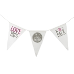 To The Moon & Back Canvas Banner - Pink & Grey