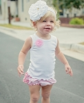 RuffleButts White Tank with Pink Flower