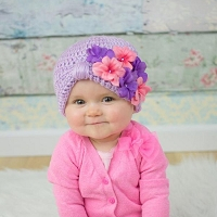 Lavender Tiny Turban with Pink Lavender Geraniums