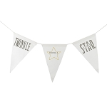 Twinkle Twinkle Little Star Canvas Banner - Grey & Gold