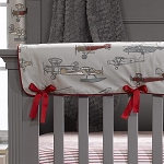 Liz and Roo Crib Rail Cover - Vintage Airplanes
