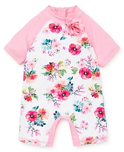 Baby Girl Rashguard Swimsuit - Watercolor Floral