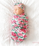 Baby Bling Bow and Swaddle Set - Watercolor Floral