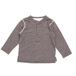 Long Sleeve Henley Tee - Charcoal