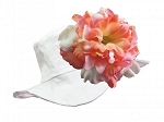 White Sun Hat with Pink & Orange Peony