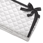Liz and Roo Crib Rail Cover - White Quilted with Black Trim