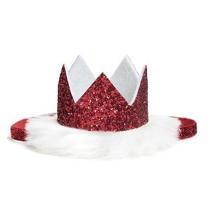 Winter Princess Crown Headband - Red Glitter