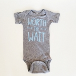 Worth the Wait Onesie - Grey & Light Blue
