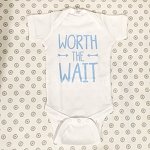 Worth the Wait Onesie - White & Blue