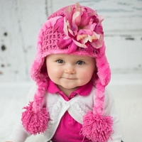 Candy Pink Winter Wimple Hat with Pink Raspberry Peony