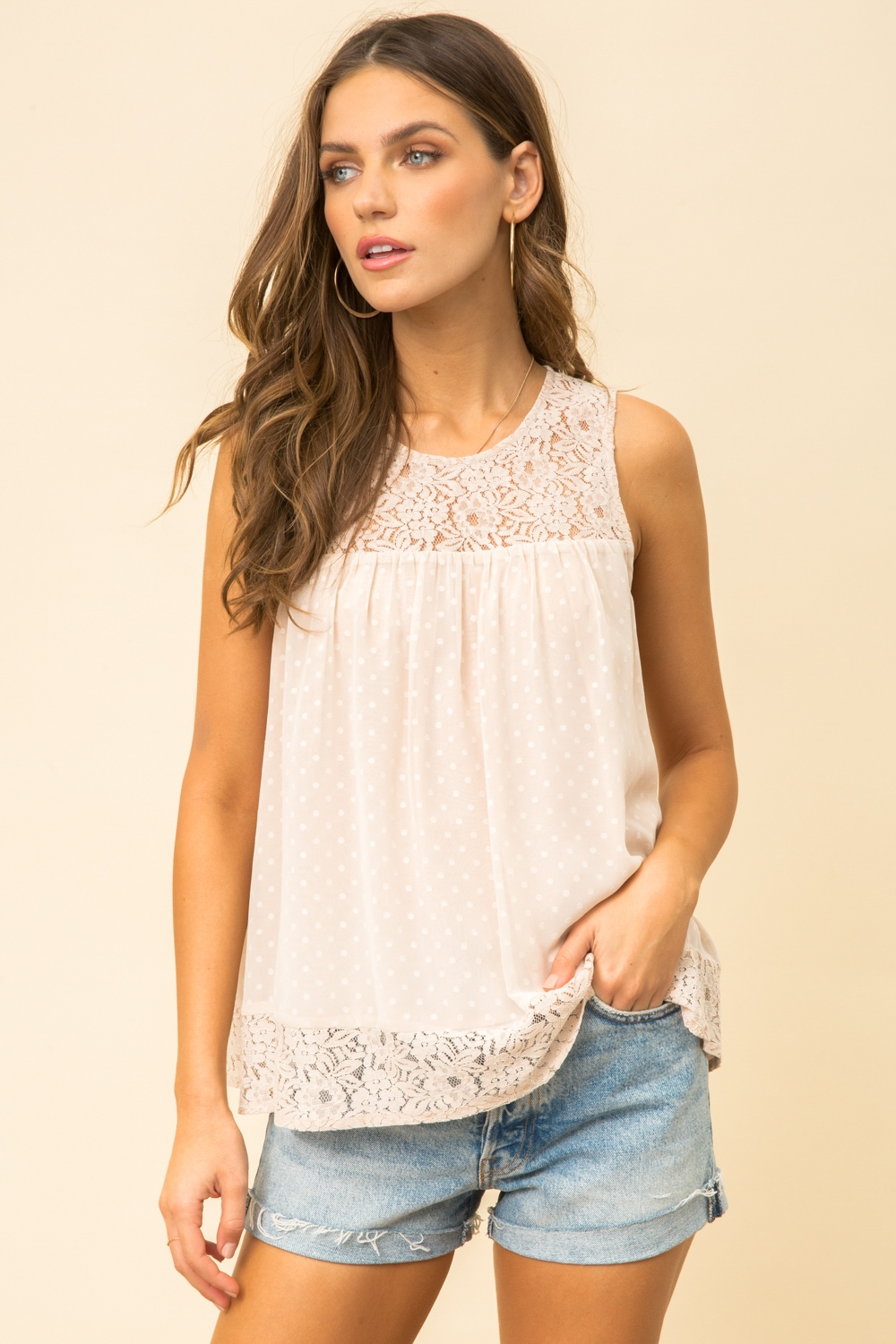 Lace Sleeveless Tank Top