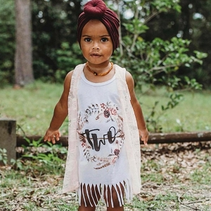 Boho Floral Second Birthday Fringe Dress